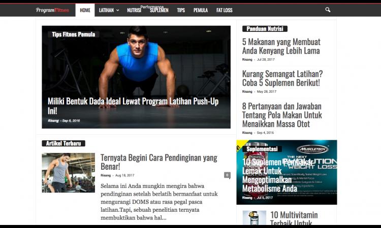 Jual  Santai Website Premium Niche Fitness